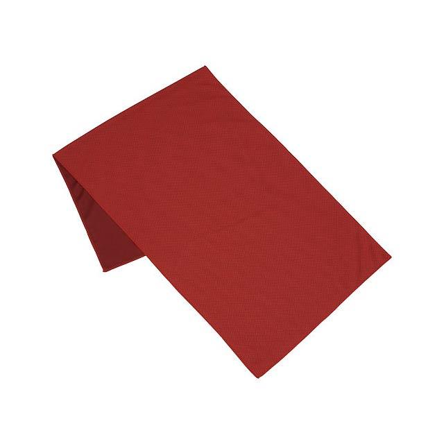 Fitness ručník Alpha - transparentní červená