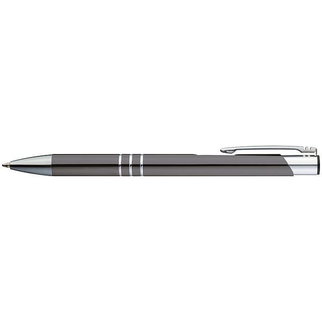 Kugelschreiber aus Metall mit 3 Zierringen - schwarz