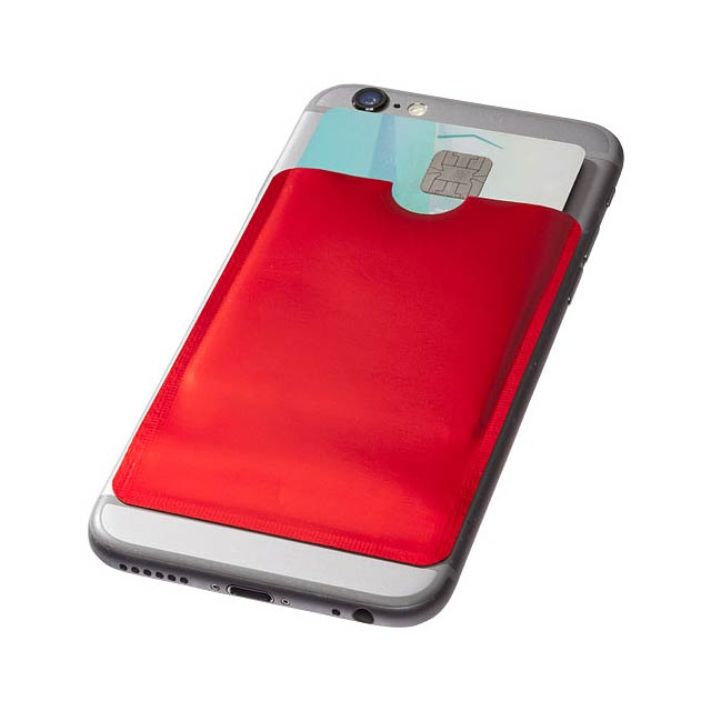 Pouzdro na karty RFID k chytrému telefonu - transparentní červená