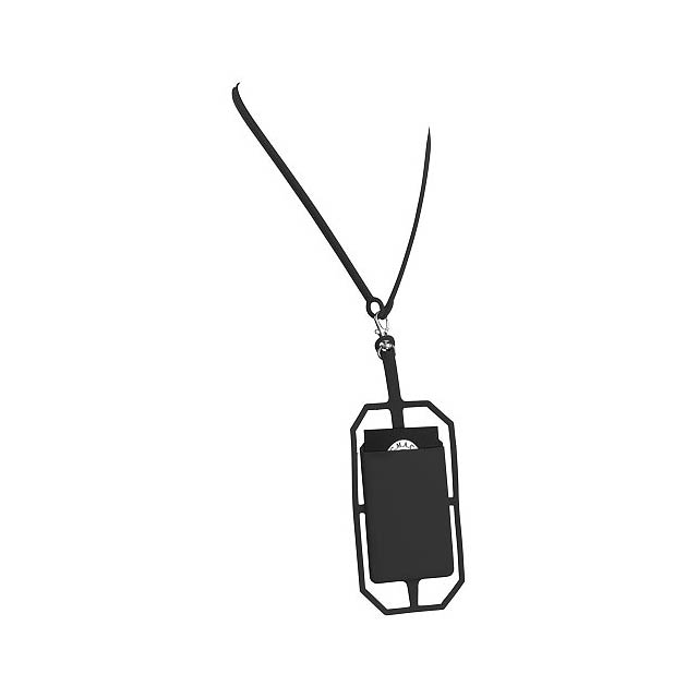 Silikonové pouzdro na kartu s RFID a lanyardem - černá