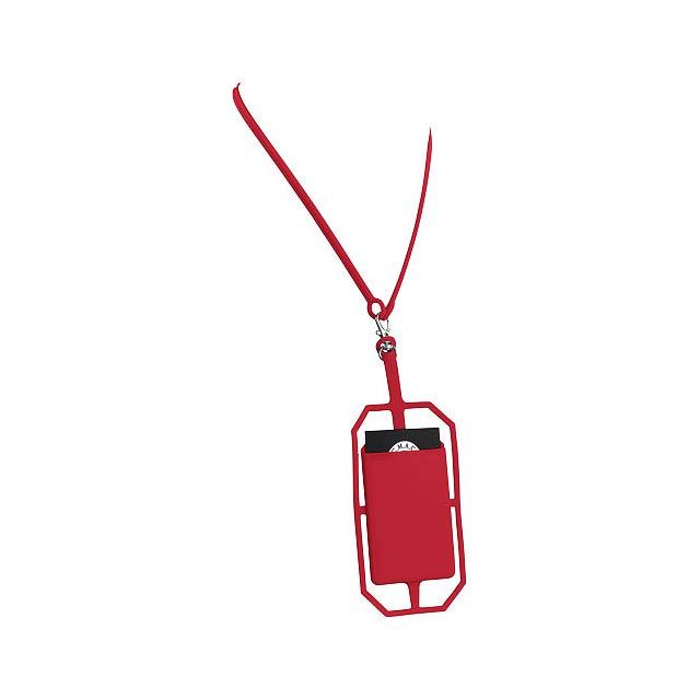 Silikonové pouzdro na kartu s RFID a lanyardem - transparentní červená