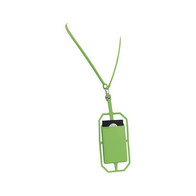 Silikonové pouzdro na kartu s RFID a lanyardem - citrónová - limetková