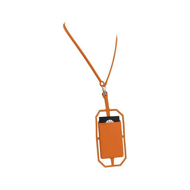 Silikonové pouzdro na kartu s RFID a lanyardem - oranžová