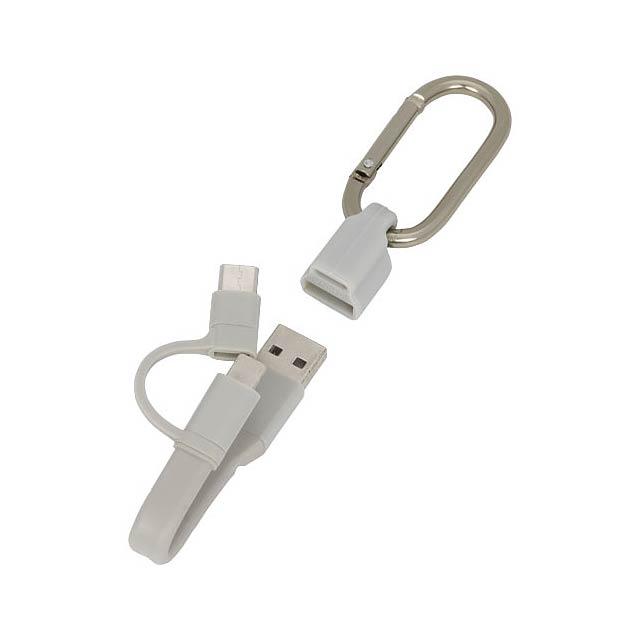 Nabíjecí kabel Fold 3-v-1 s karabinkou - šedá
