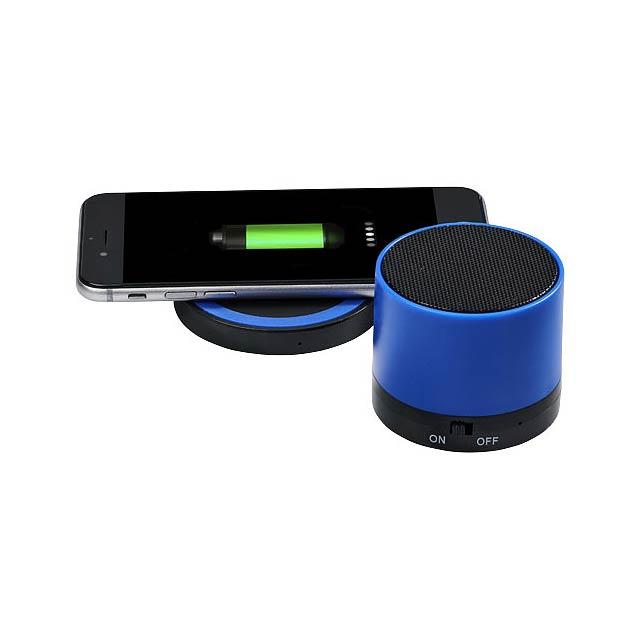 Cosmic Bluetooth® reproduktor s bezdrátovou nabíjecí podložk - modrá