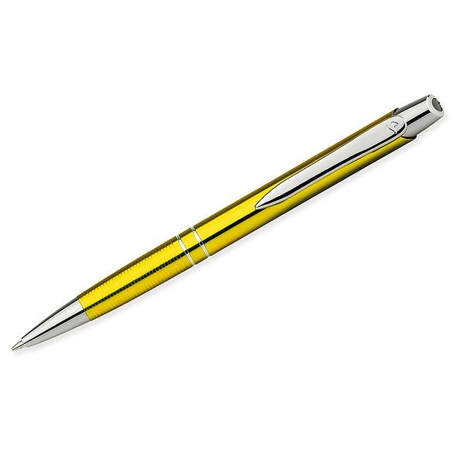 MARIETA METALIC - Kovové kuličkové pero s modrou náplní.          - žlutá
