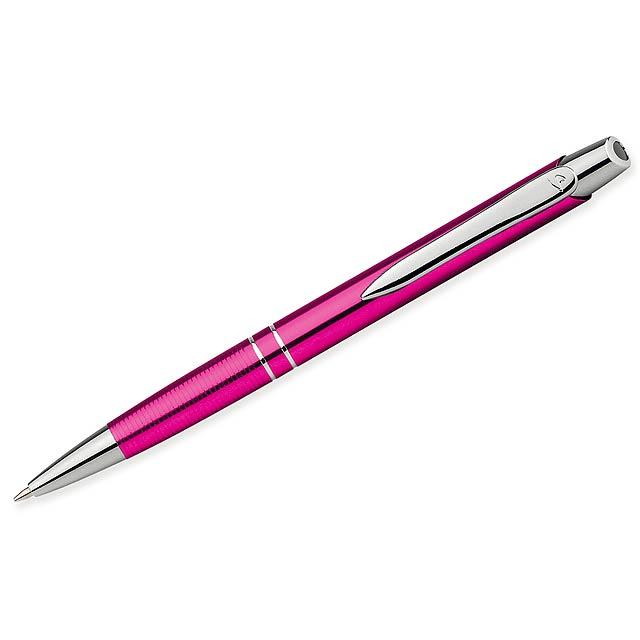 MARIETA METALIC - Kovové kuličkové pero s modrou náplní.          - růžová