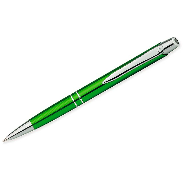 Kovové kuličkové pero smodrou náplní. - zelená - foto