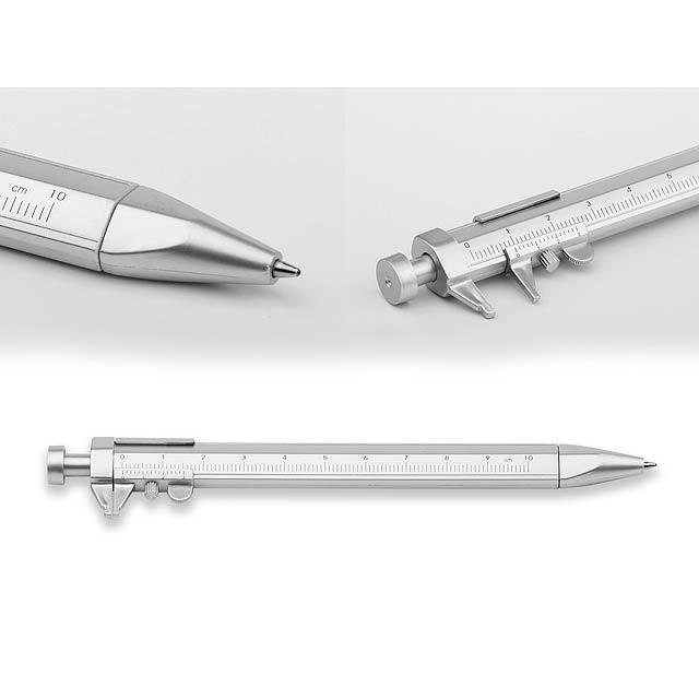 plastové kuličkové pero s posuvným měřidlem, modrá náplň - stříbrná - foto