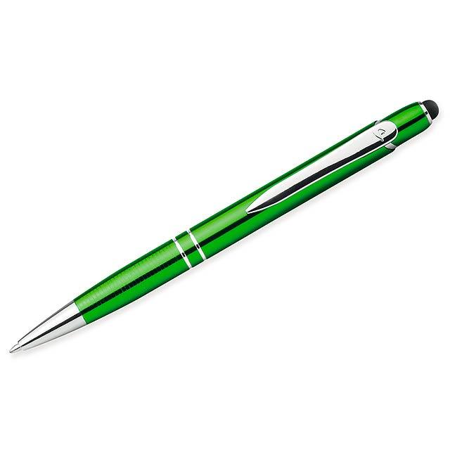 MARIETA TOUCH - Kovové kuličkové pero s modrou náplní a funkcí touch pen.      - citrónová - limetková