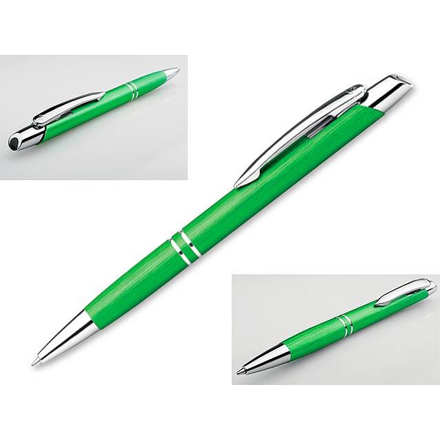 MARIETA BRUSH kovové kuličkové pero, modrá náplň, SANTINI, Světle zelená - zelená