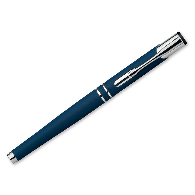 OLEG ROLLER SOFT - Kovové keramické pero s modrou náplní a pogumovaným soft touch povrchem.    - modrá