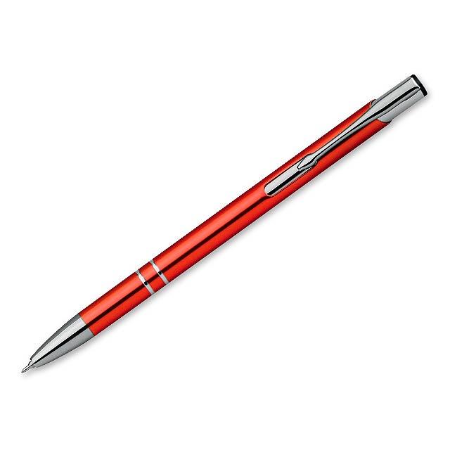 OLEG SLIM kovové kuličkové pero, modrá náplň 0,5 mm s nízkou viskozitou, Oranžová - oranžová