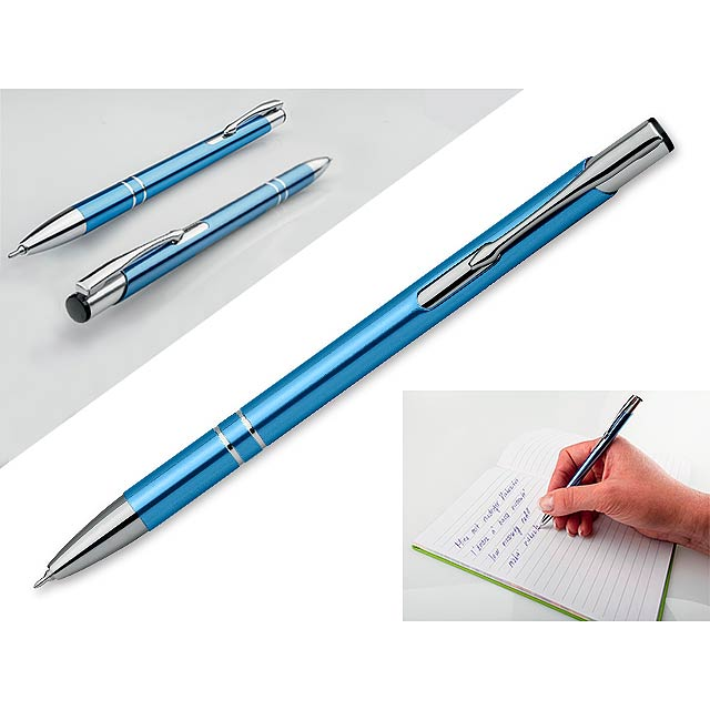 OLEG SLIM - Kovové kuličkové pero s modrou náplní. Tloušťka hrotu 0,5 mm, náplň s nízkou viskozitou.  - nebesky modrá