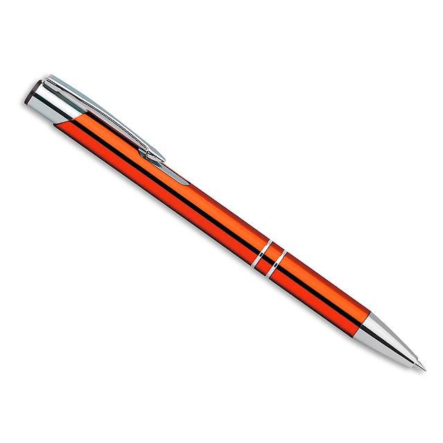 OLEG kovové kuličkové pero, modrá náplň, Oranžová - oranžová