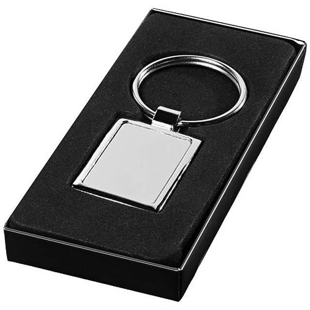 Obdélníkový přívěsek na klíče - stříbrná