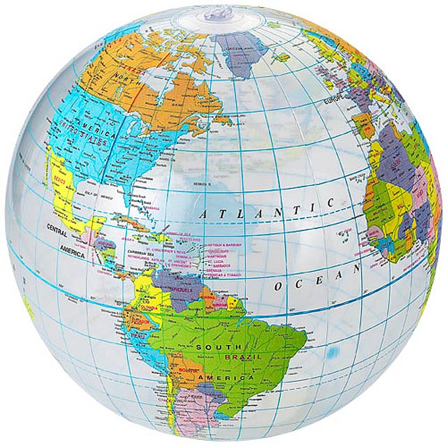 Průhledný plážový míč Globe - transparentní