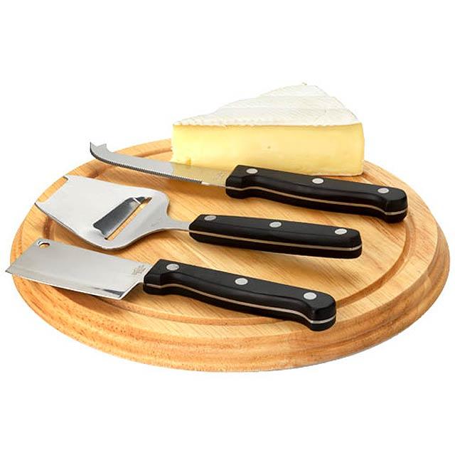 Čtyřdílná dárková sada na sýr - hnědá