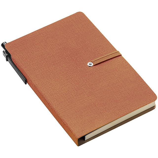 Zápisník s poznámkovým blokem - hnědá