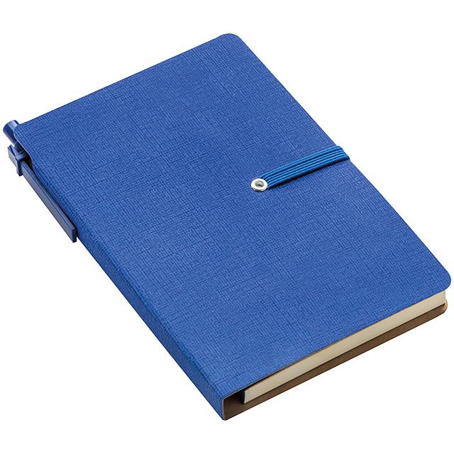 Zápisník s poznámkovým blokem - modrá