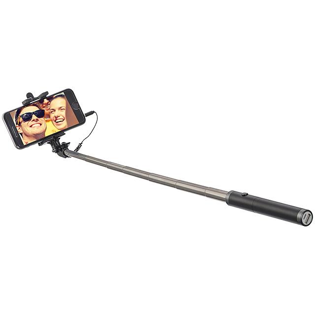 Selfie tyč s power bank - černá
