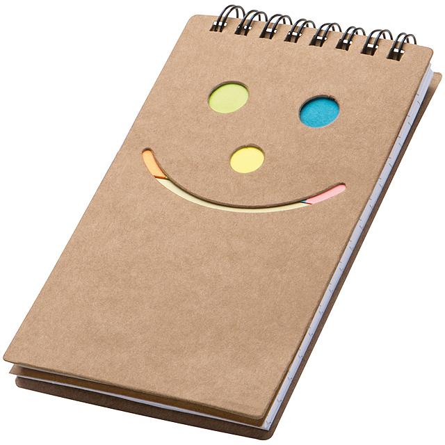 Poznámkový blok smile - hnědá