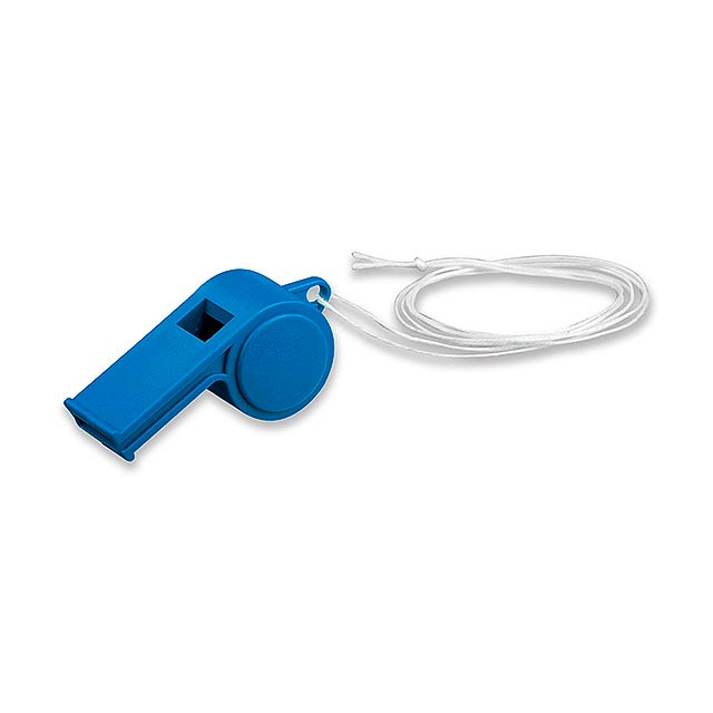 ARBITER - plastová píšťalka na šňůrce - modrá