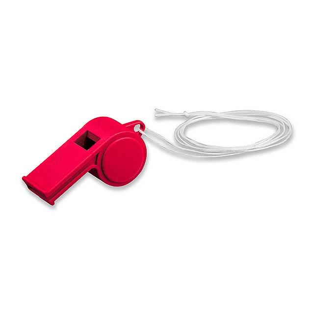 ARBITER - plastová píšťalka na šňůrce - červená
