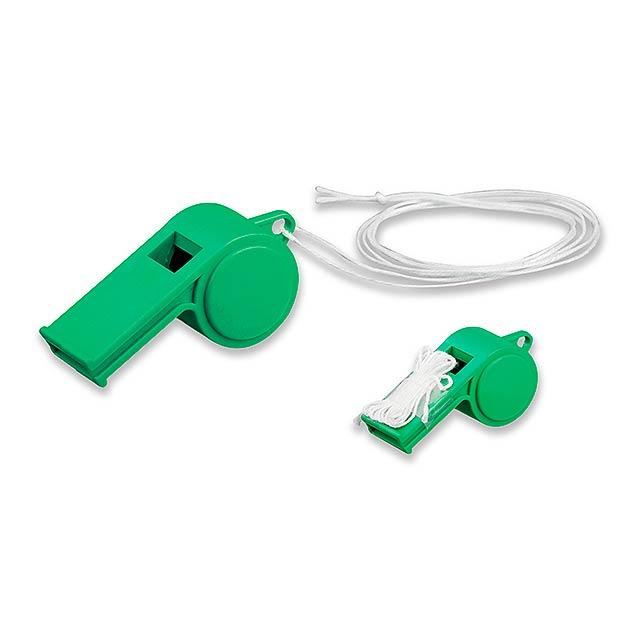 ARBITER - plastová píšťalka na šňůrce - zelená