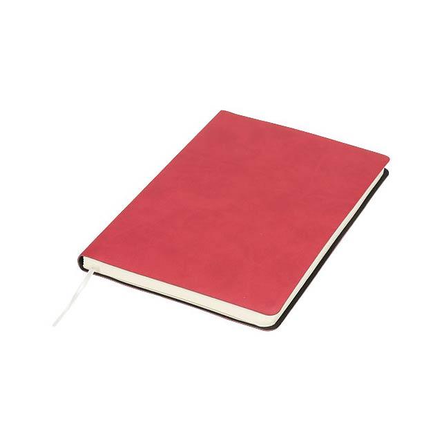 Zápisník Liberty z příjemně měkkého materiálu - transparentní červená