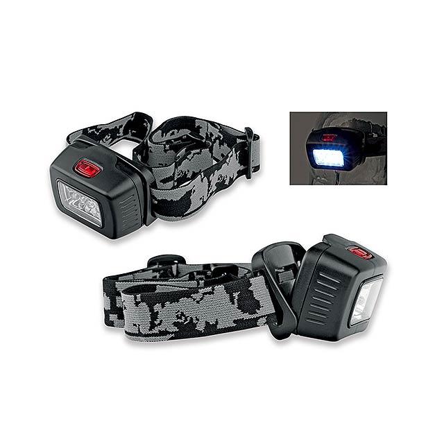 MIZAR - plastová 8 LED čelovka - černá