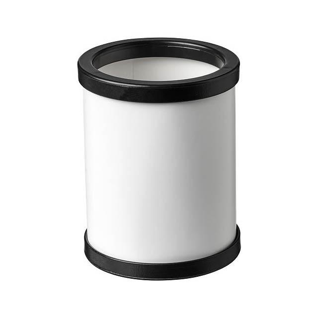 Kulatý kartonový hrnek na pera s plastovou obrubou Deva - černá