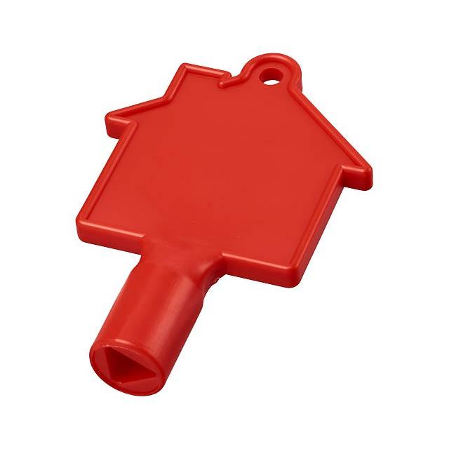Klíč na měřidla ve tvaru domu Maximilian - transparentní červená