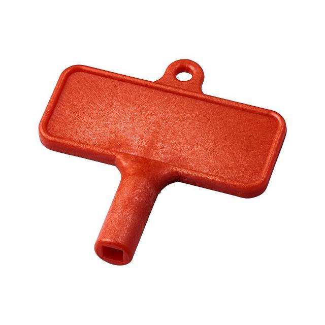 Plastový klíč na radiátor Largo - transparentní červená