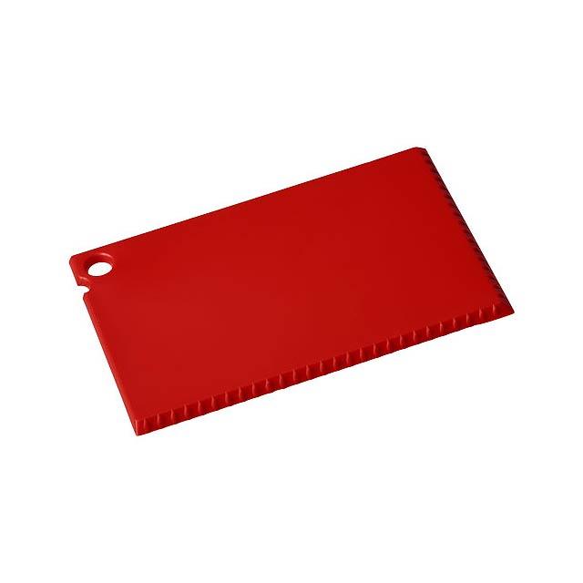 Škrabka na led Coro o velikosti platební karty - transparentní červená