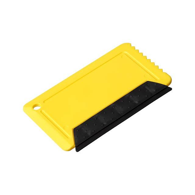 Škrabka na led s pryží Freeze o velikosti platební karty - žlutá