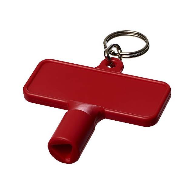 Maximilian obdélníkový montážní klíč s klíčenkou - transparentní červená