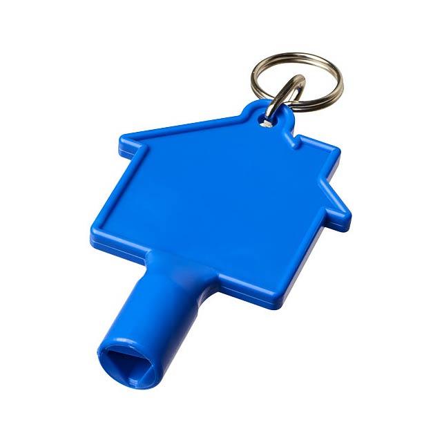 Klíčenkový klíč na měřidla Maximilian ve tvaru domu - modrá