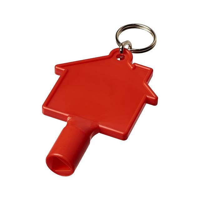 Klíčenkový klíč na měřidla Maximilian ve tvaru domu - transparentní červená