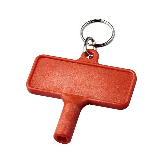 Klíčenkový plastový klíč na radiátory Largo - transparentní červená
