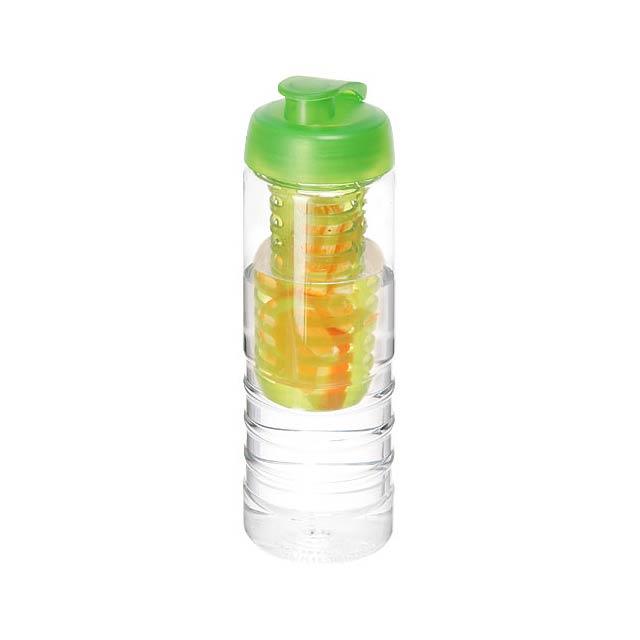 H2O Treble 750 ml lahev s vyklápěcím víčkem a infuzérem - transparentní