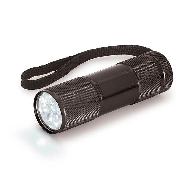 MILDRED - kovová 9 LED svítilna - černá