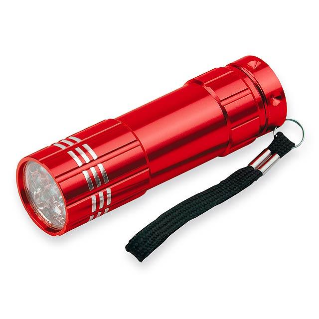 MILDRED - kovová 9 LED svítilna - červená