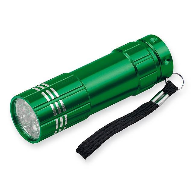 MILDRED - kovová 9 LED svítilna - zelená