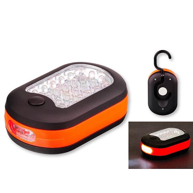 CAMPER - plastová 27 LED svítilna se závěsným háčkem a magnetem - oranžová