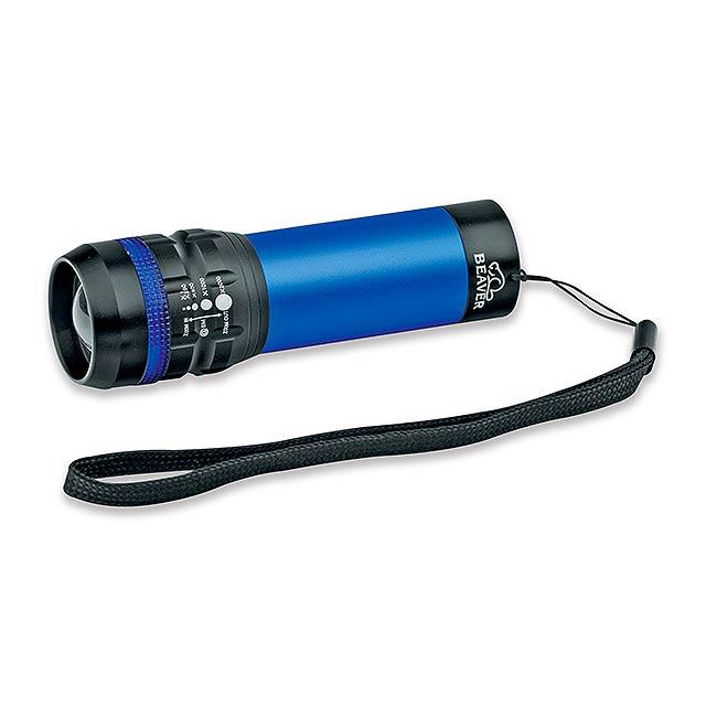 kovová 1 W svítilna s funkcí zoom, BEAVER - modrá - foto