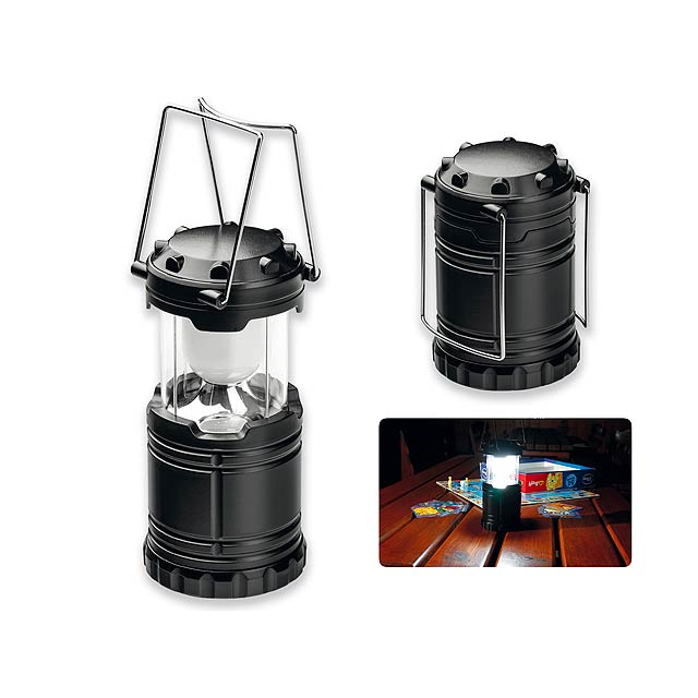 LANTERN - Plastová kempinková 6 LED svítilna s kovovými úchyty. Baterie AA (3x) nejsou součástí.    - černá