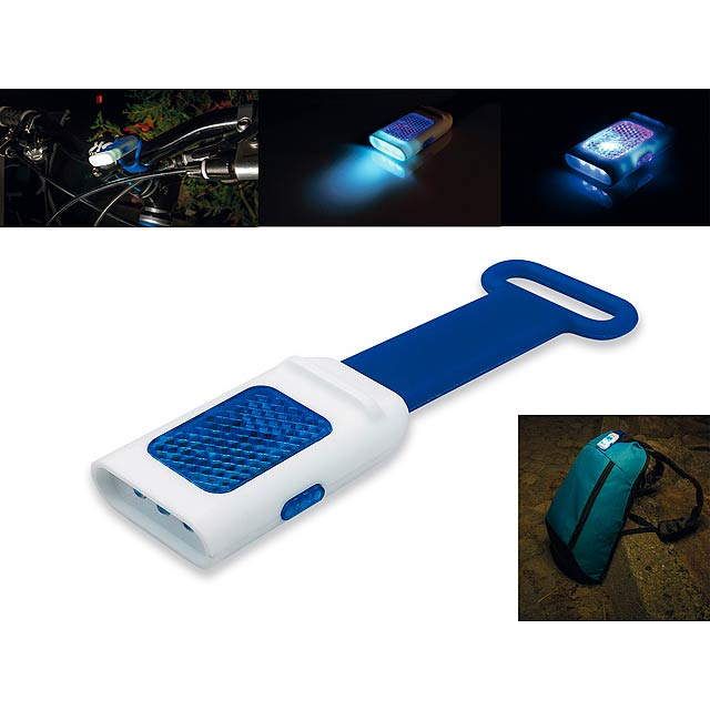 SEE - Plastic 4 LEDs torch with reflector and flasher function - blue