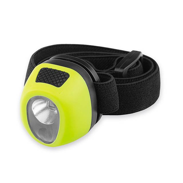HADIR plastová LED + 2x červená LED čelovka, Světle zelená - zelená