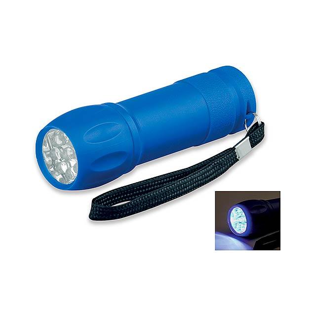 plastová 9 LED svítilna - modrá - foto